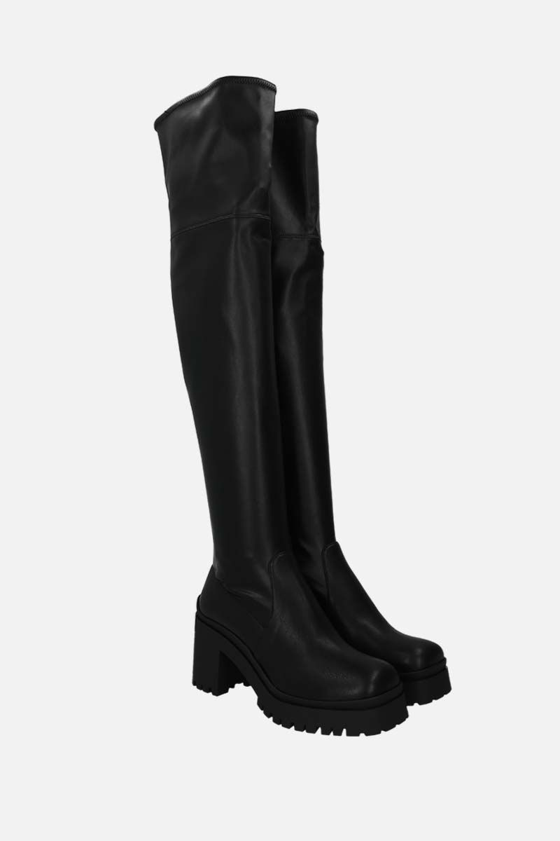 MIU MIU: stretch faux leather over-the-knee boots Color Black_2