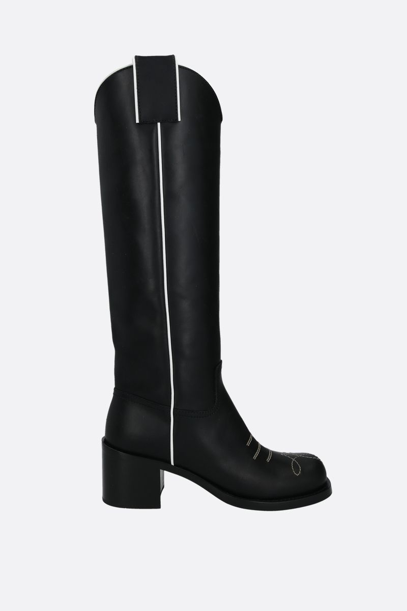 MIU MIU: smooth leather western boots Color Black_1