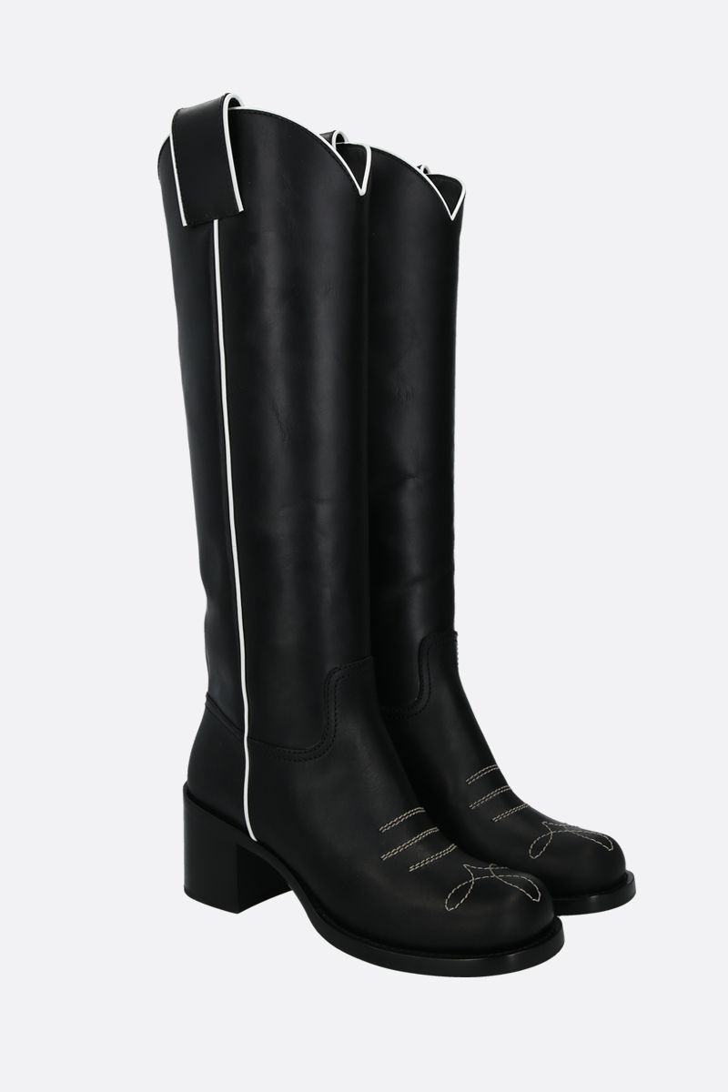 MIU MIU: smooth leather western boots Color Black_2