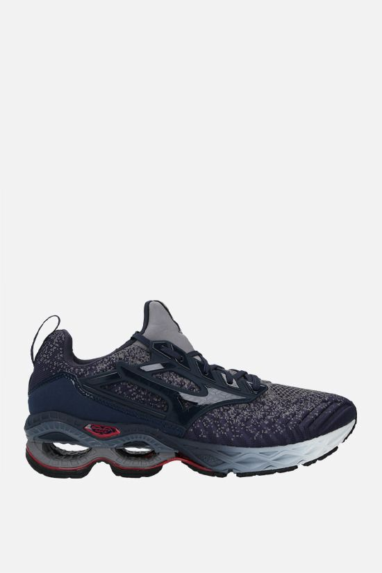 MIZUNO: Wave Cration Waveknit 2 stretch knit and neorpene sneakers Color Blue_1