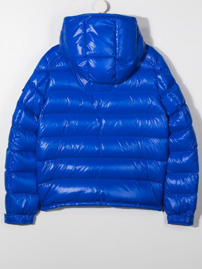 MONCLER KIDS: New Maya laquè nylon down jacket Color Blue_2