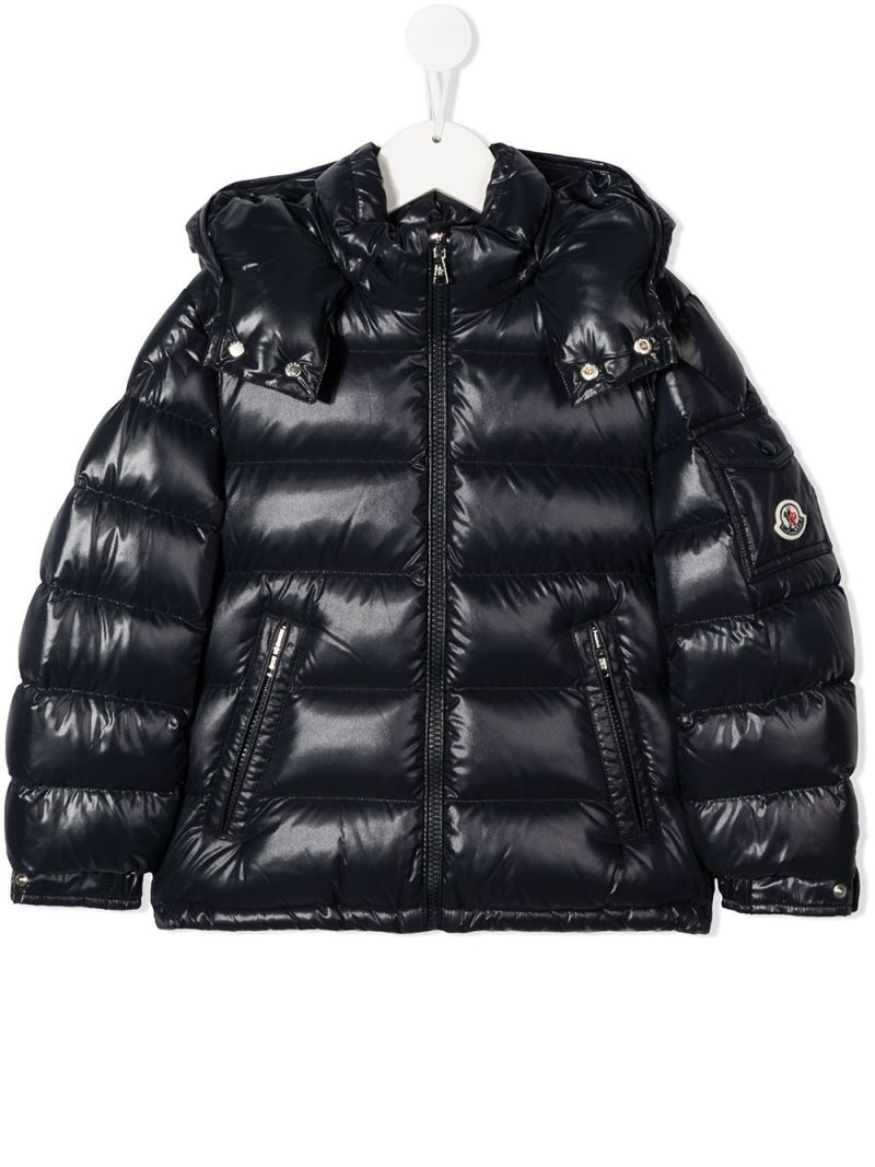 MONCLER KIDS: piumino New Maya in nylon laquè Colore Blu_1
