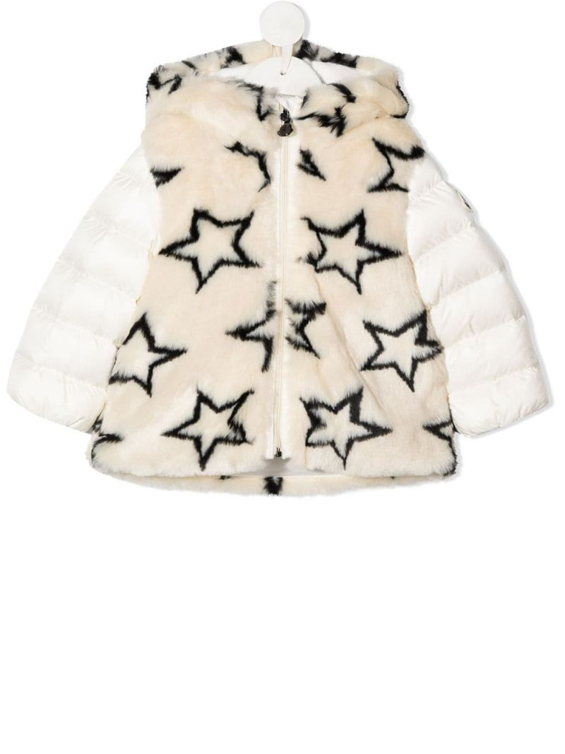 MONCLER KIDS: faux fur and nylon down jacket Color Multicolor_1