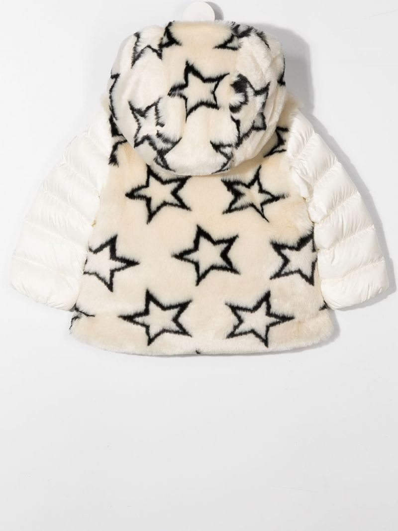 MONCLER KIDS: faux fur and nylon down jacket Color Multicolor_2