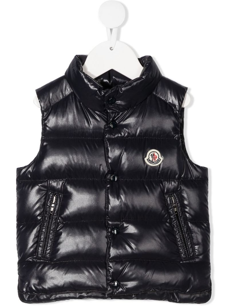 MONCLER KIDS: logo-detailed laquè nylon sleeveless down jacket Color Blue_1