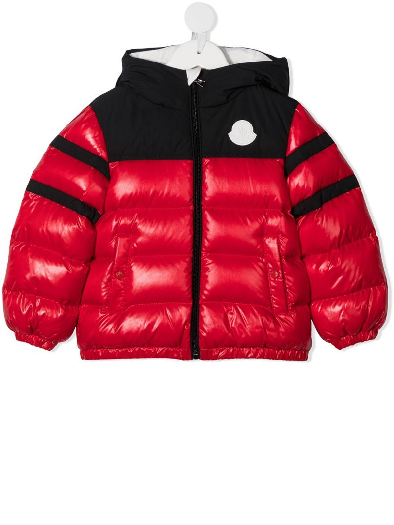 MONCLER KIDS: colour-block laquè nylon down jacket Color Red_1