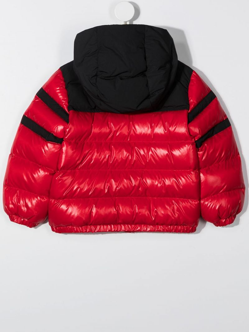 MONCLER KIDS: colour-block laquè nylon down jacket Color Red_2