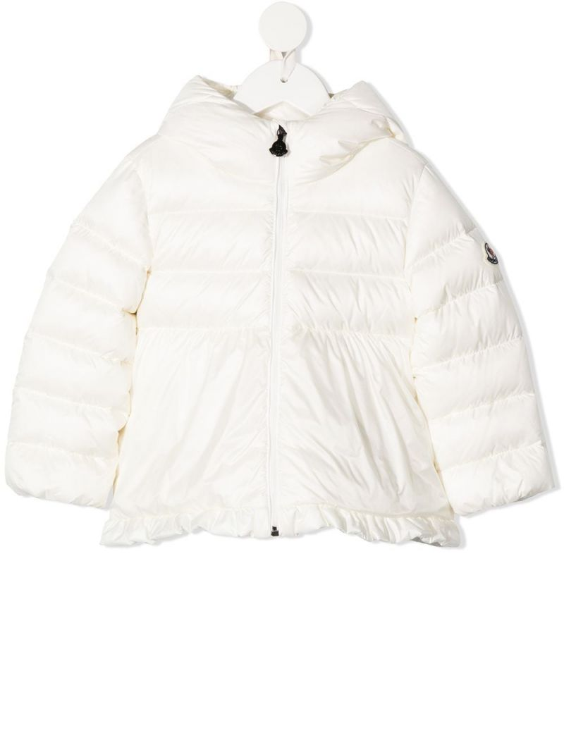 MONCLER KIDS: ruches-detailed nylon down jacket Color White_1