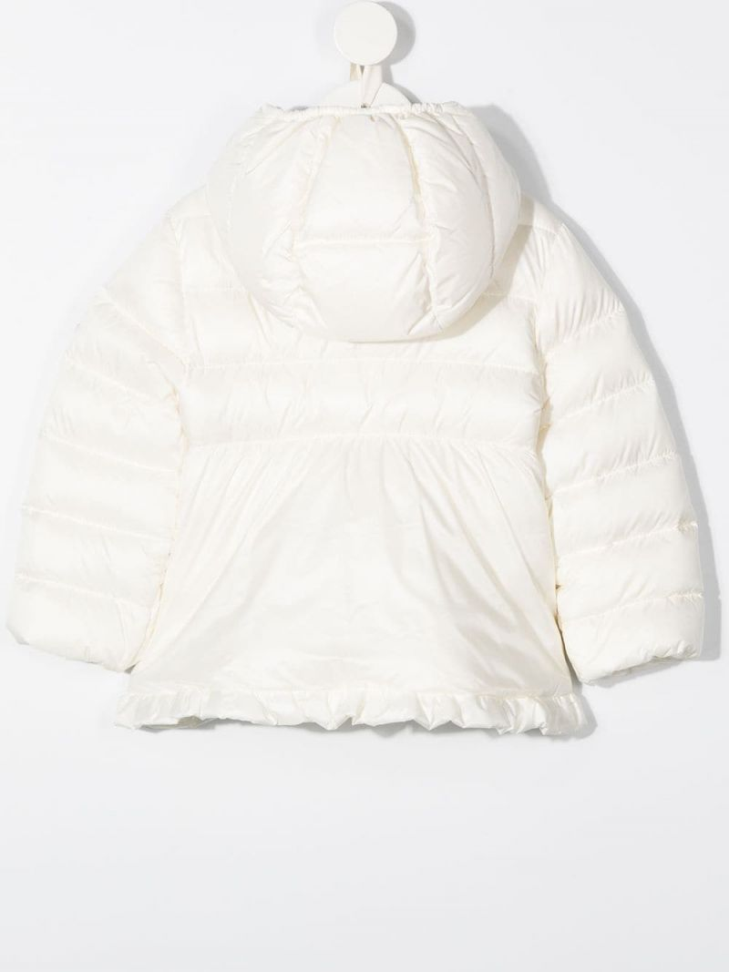 MONCLER KIDS: ruches-detailed nylon down jacket Color White_2