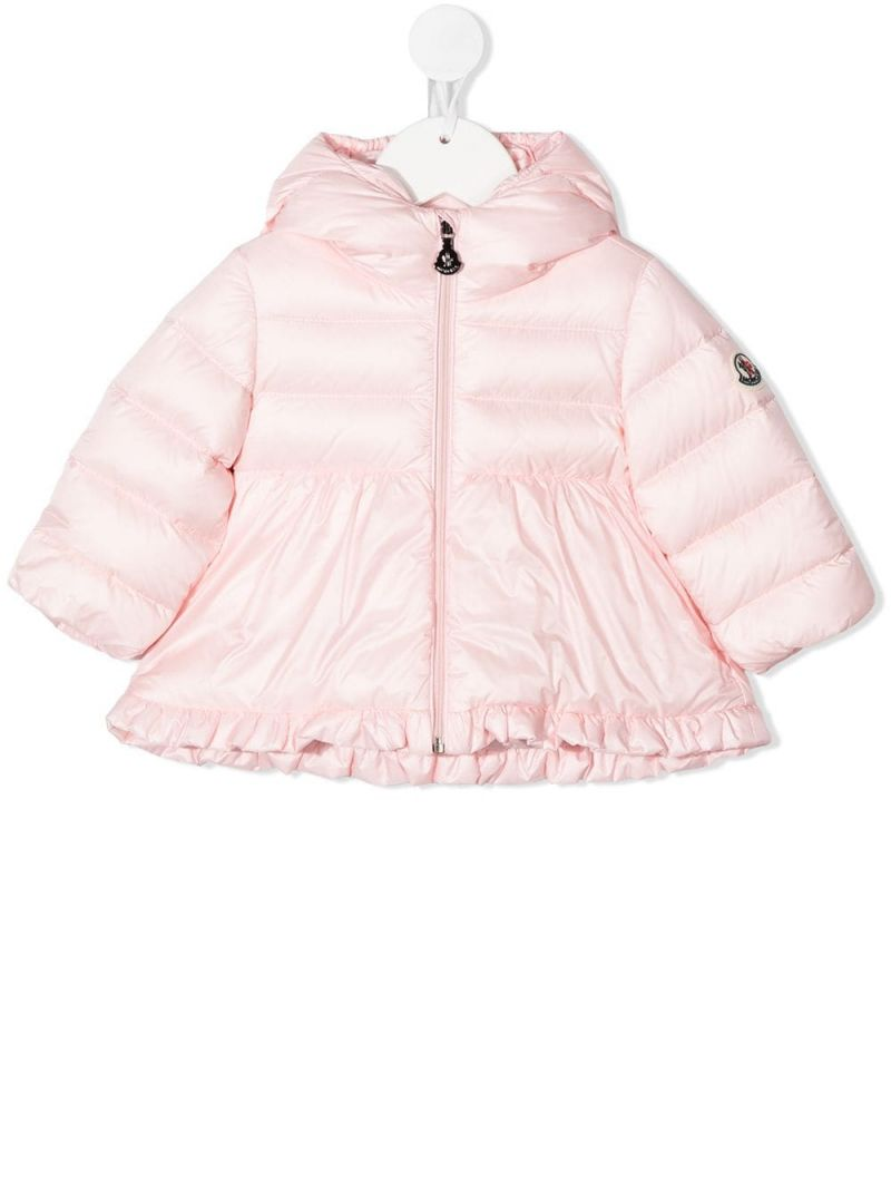MONCLER KIDS: ruches-detailed nylon down jacket Color Pink_1