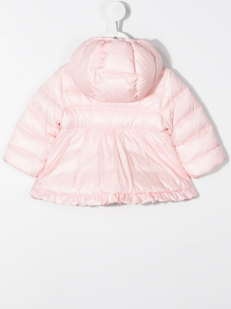 MONCLER KIDS: ruches-detailed nylon down jacket Color Pink_2