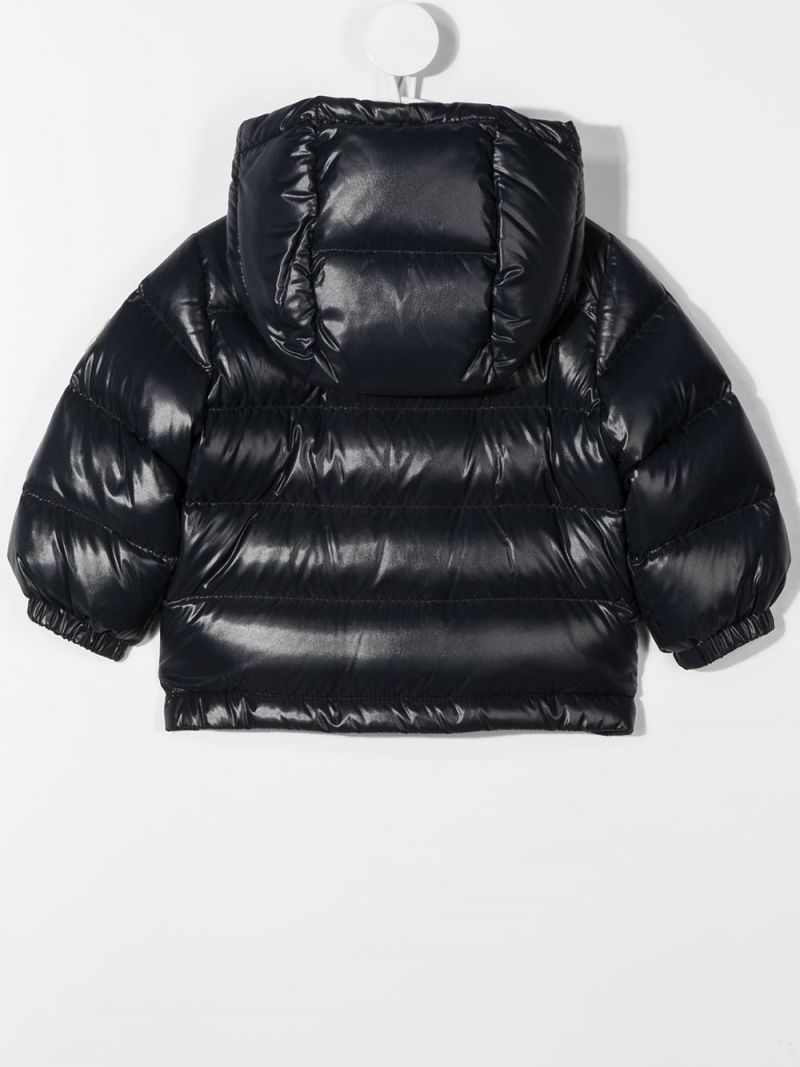 MONCLER KIDS: logo patch laquè nylon down jacket Color Blue_2