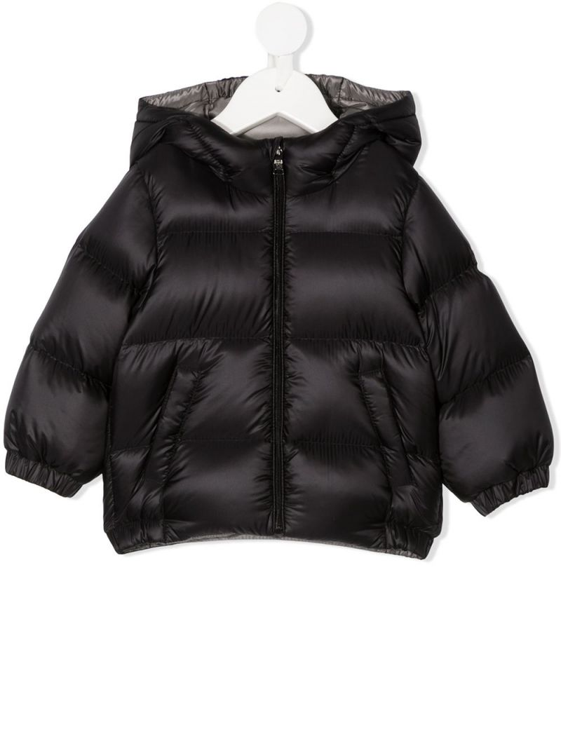 MONCLER KIDS: logo patch nylon down jacket Color Black_1