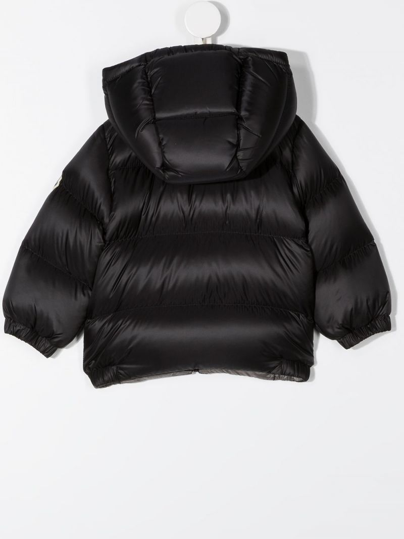 MONCLER KIDS: logo patch nylon down jacket Color Black_2