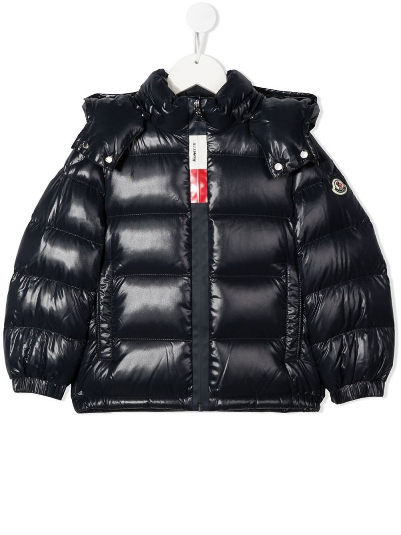 MONCLER KIDS: Dumon shiny nylon down jacket Color Blue_1