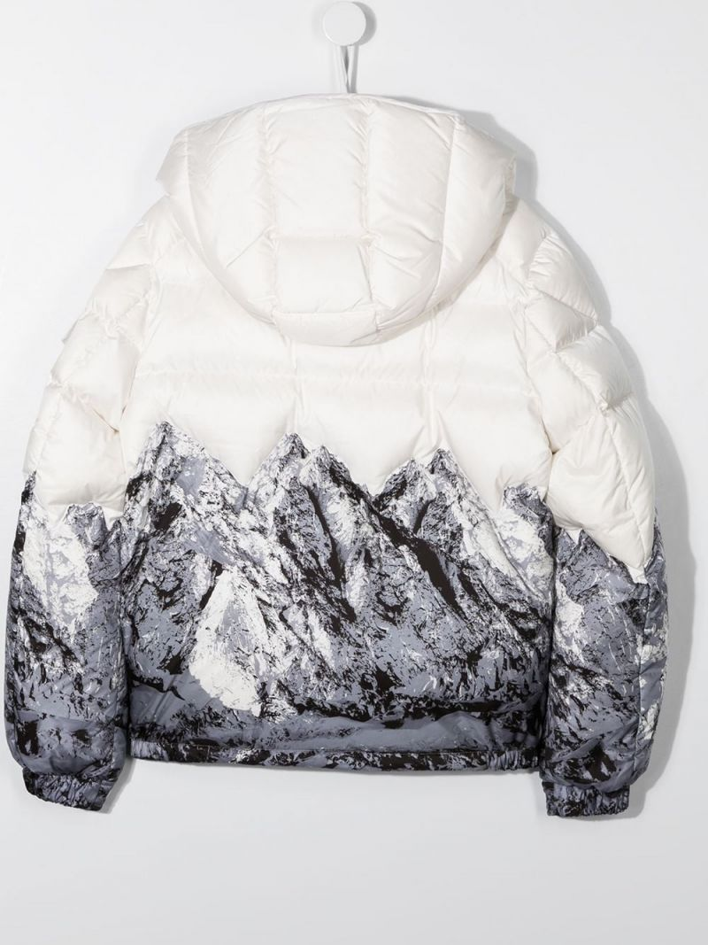 MONCLER KIDS: Mountain print nylon down jacket Color White_2