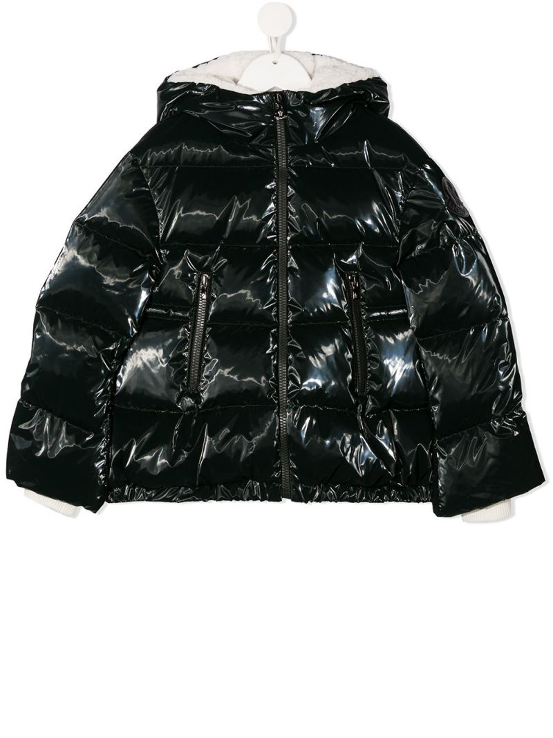 MONCLER KIDS: Clentra laquè nylon down jacket Color Green_1