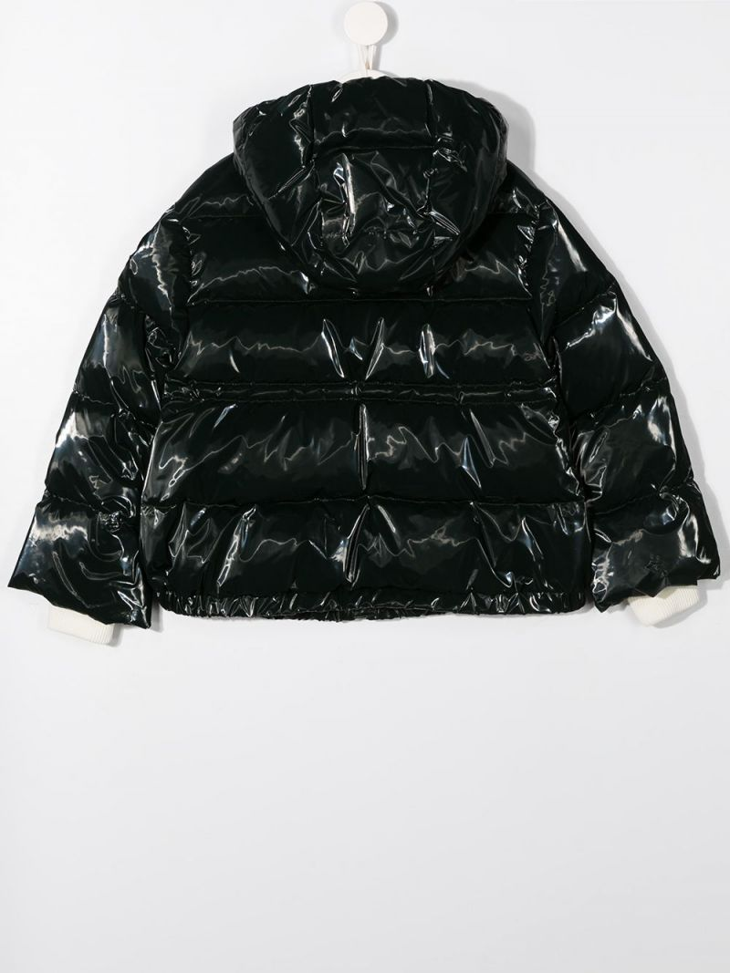 MONCLER KIDS: Clentra laquè nylon down jacket Color Green_2
