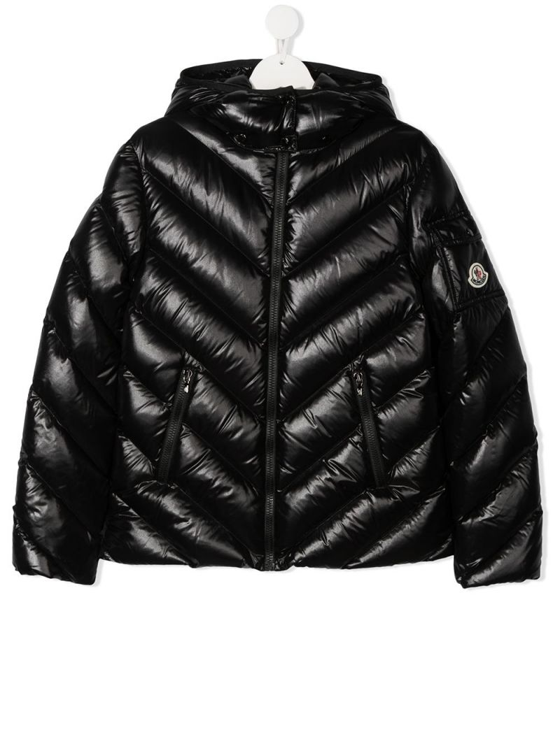 MONCLER KIDS: Brouel laquè nylon down jacket Color Black_1