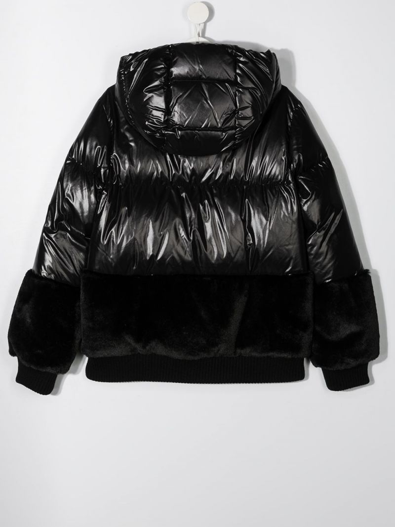 MONCLER KIDS: Logodec laquè nylon down jacket Color Black_2