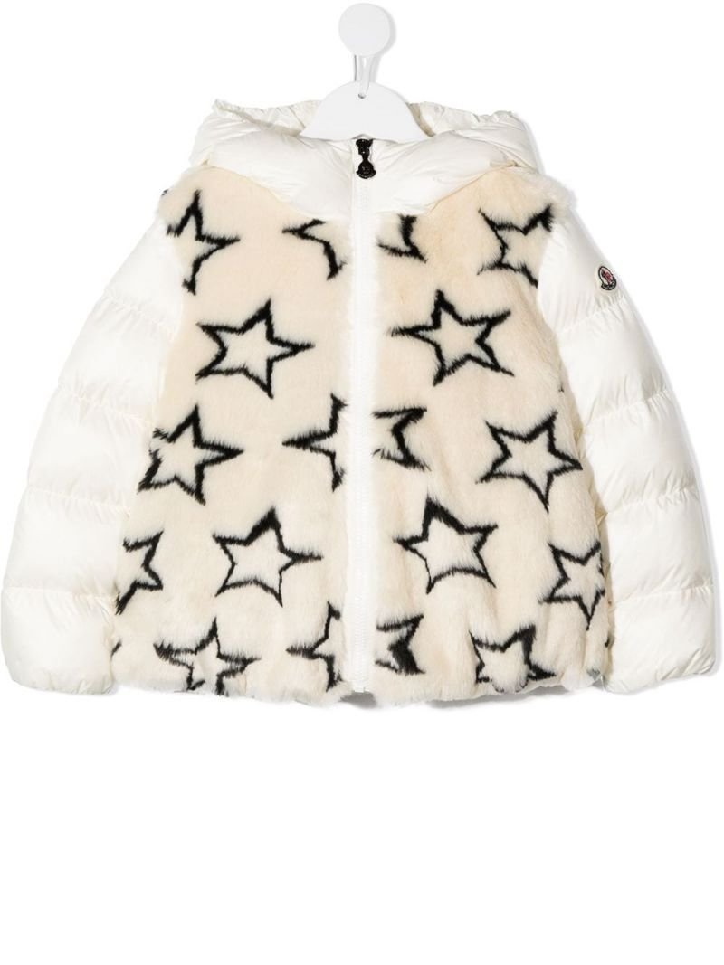 MONCLER KIDS: stars print faux fur down jacket Color Neutral_1