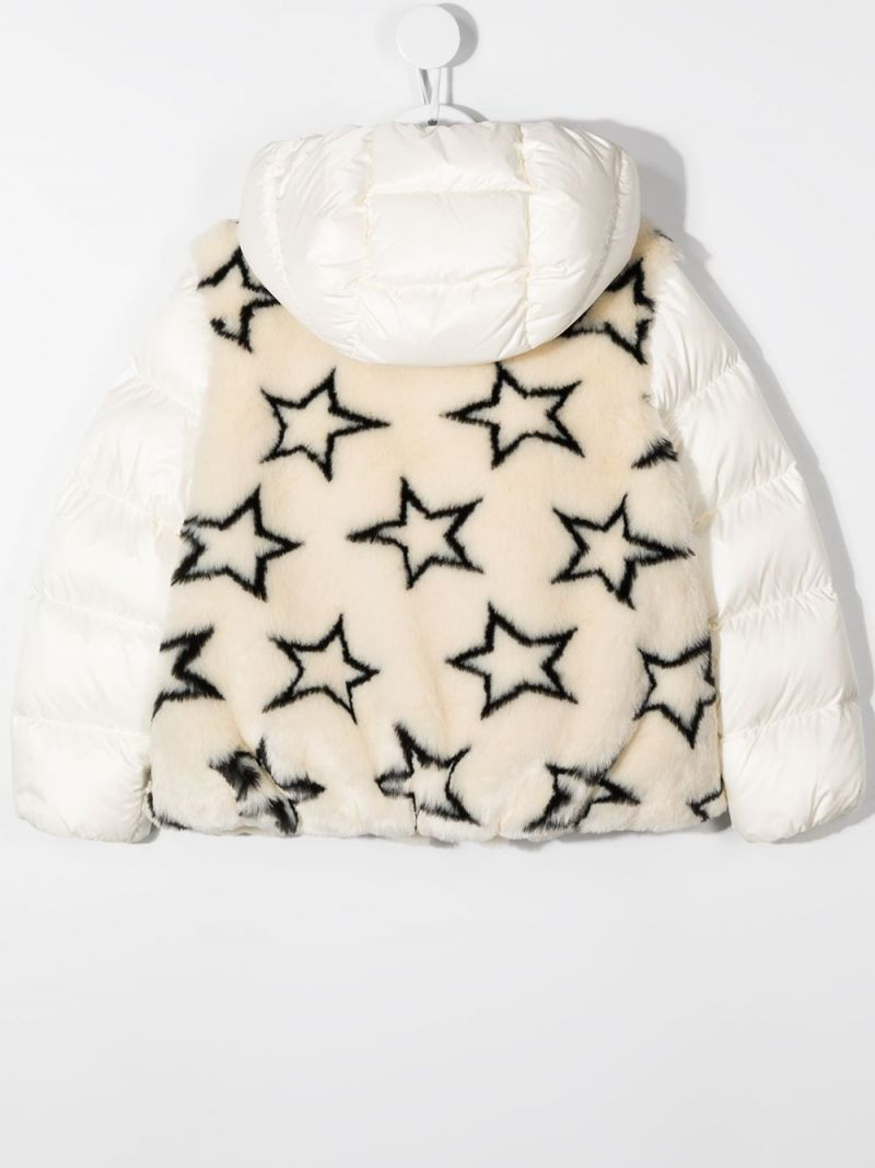 MONCLER KIDS: stars print faux fur down jacket Color Neutral_2