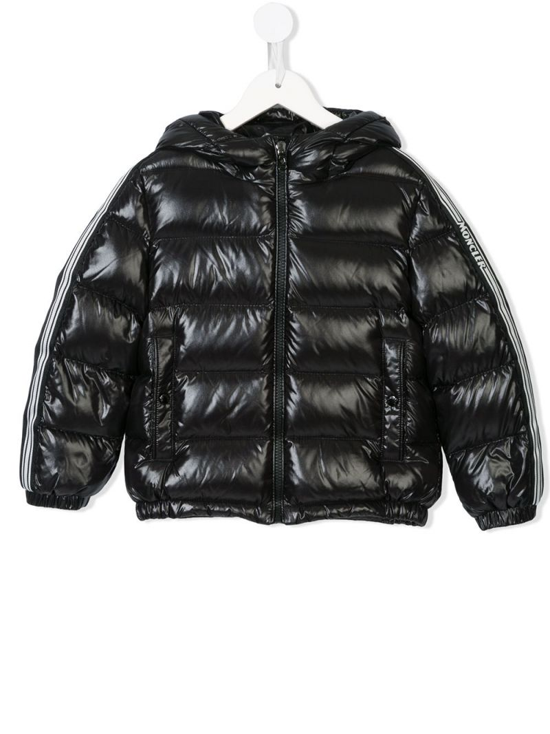 MONCLER KIDS: logoed band-detailed laquè nylon down jacket Color Black_1