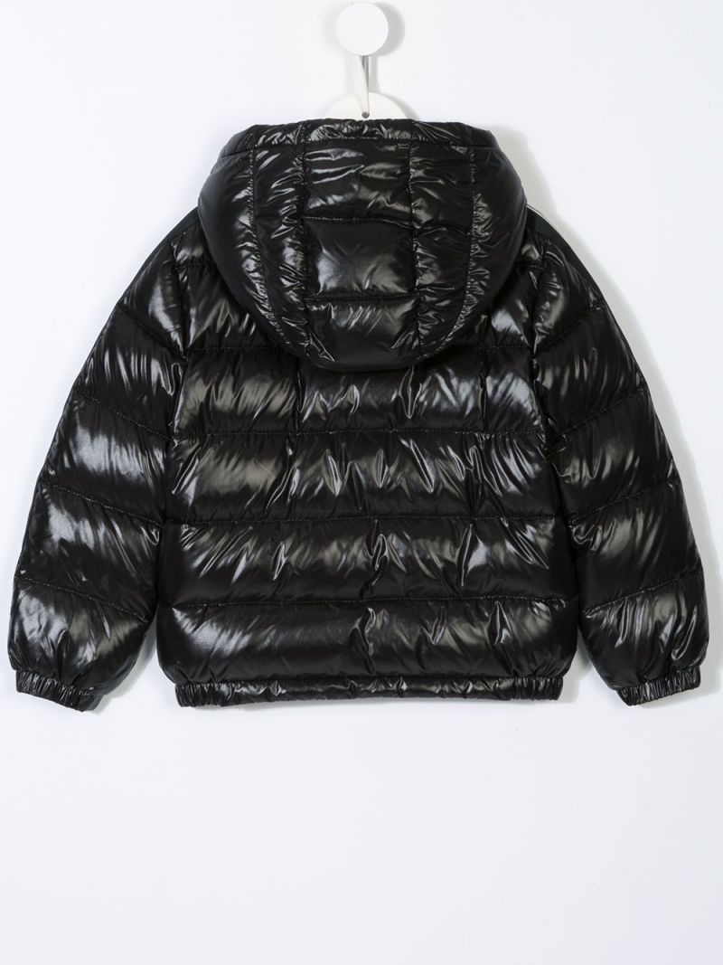 MONCLER KIDS: logoed band-detailed laquè nylon down jacket Color Black_2