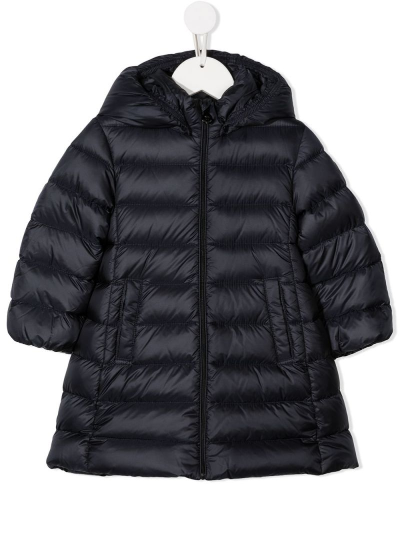 MONCLER KIDS: logo patch nylon down jacket Color Blue_1