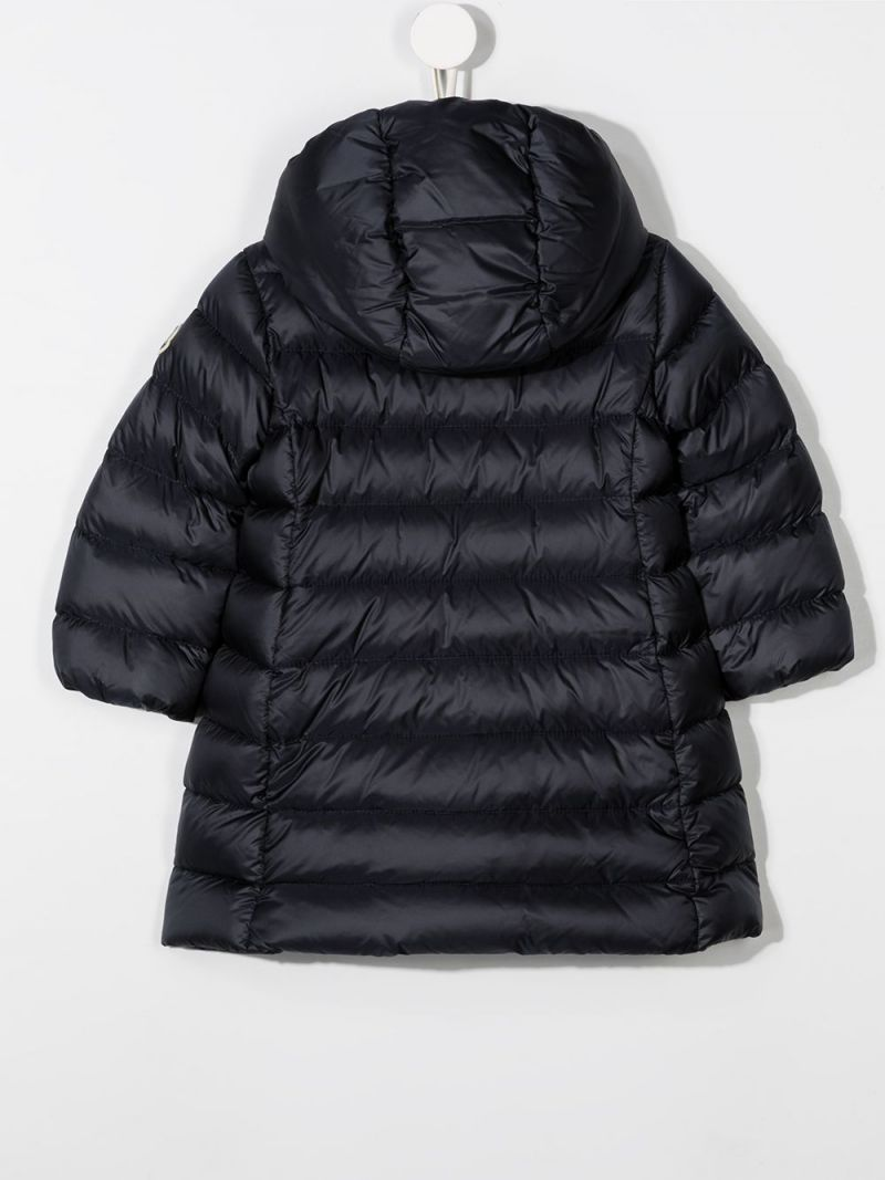 MONCLER KIDS: logo patch nylon down jacket Color Blue_2