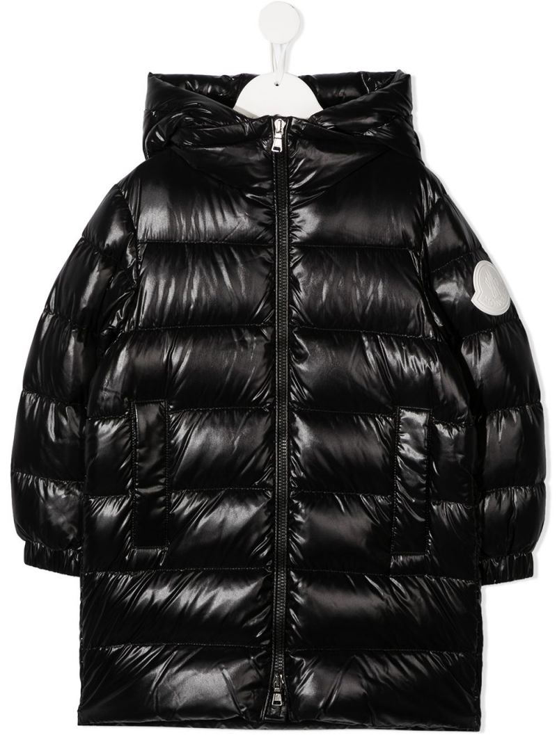 MONCLER KIDS: Berry laquè nylon down jacket Color Black_1