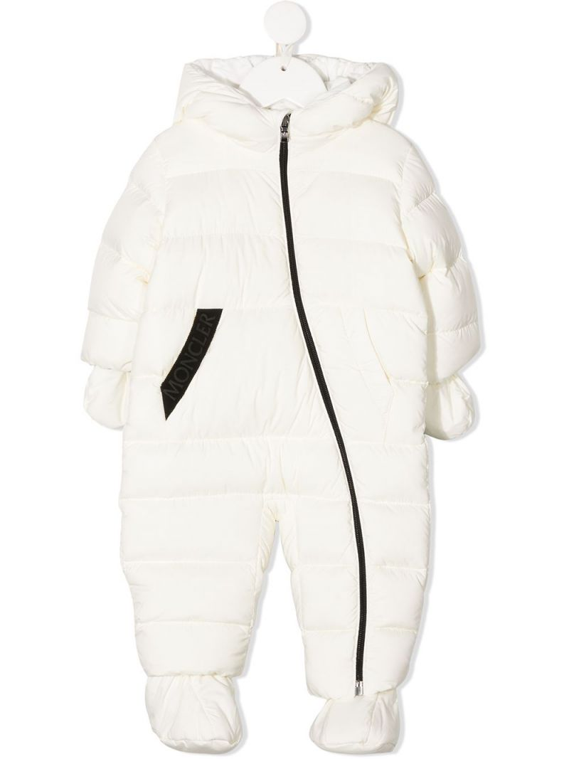 MONCLER KIDS: nylon padded snowsuit Color White_1