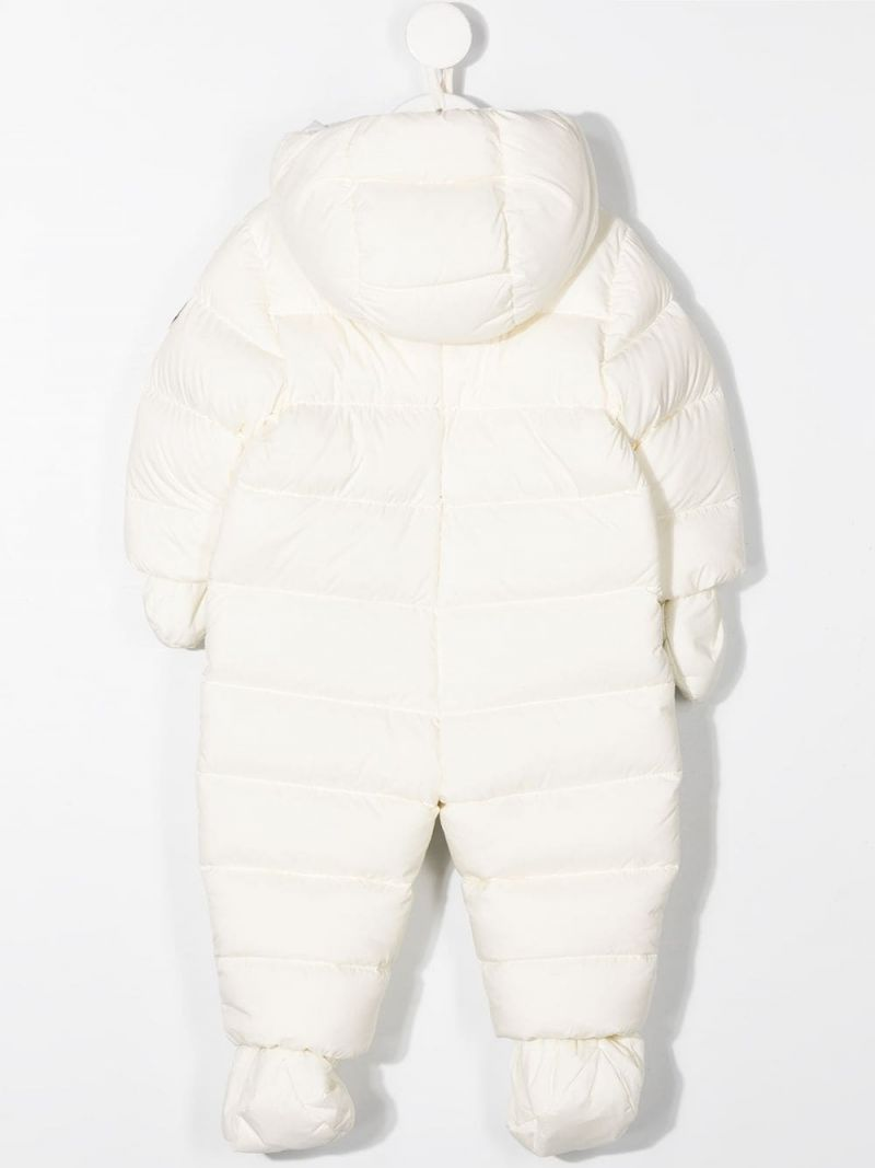 MONCLER KIDS: nylon padded snowsuit Color White_2