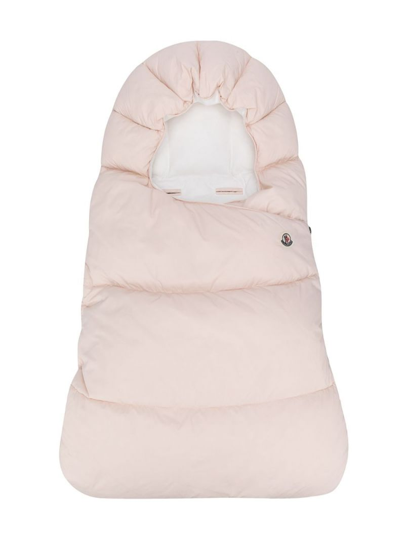 MONCLER KIDS: logo patch nylon padded sleeping bag Color Pink_1
