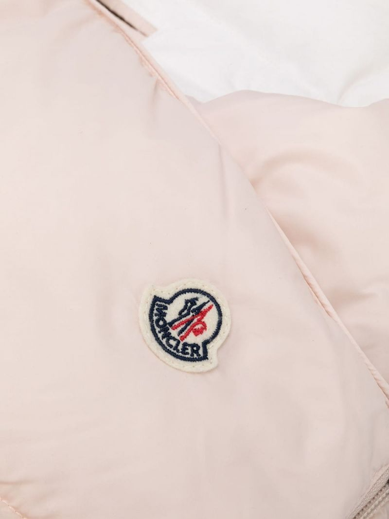 MONCLER KIDS: logo patch nylon padded sleeping bag Color Pink_2