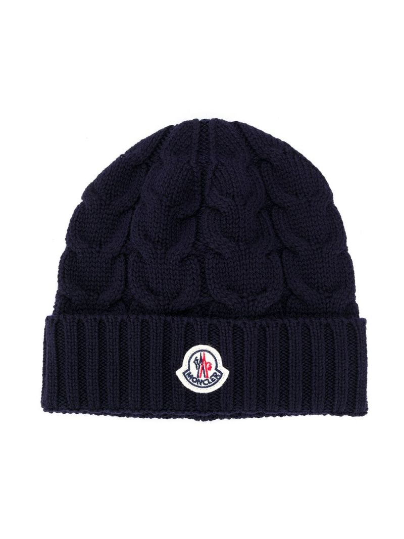 MONCLER KIDS: logo patch wool beanie Color Blue_1