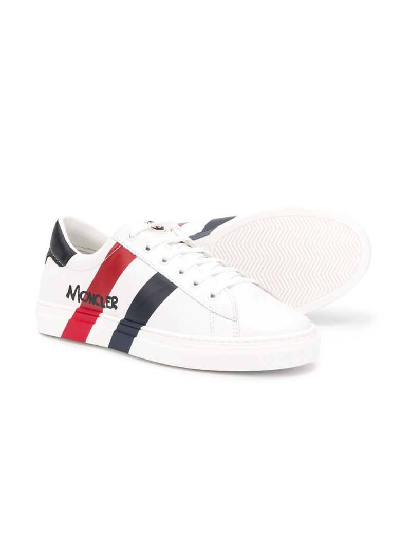 MONCLER KIDS: logo-detailed smooth leather sneakers Color White_2
