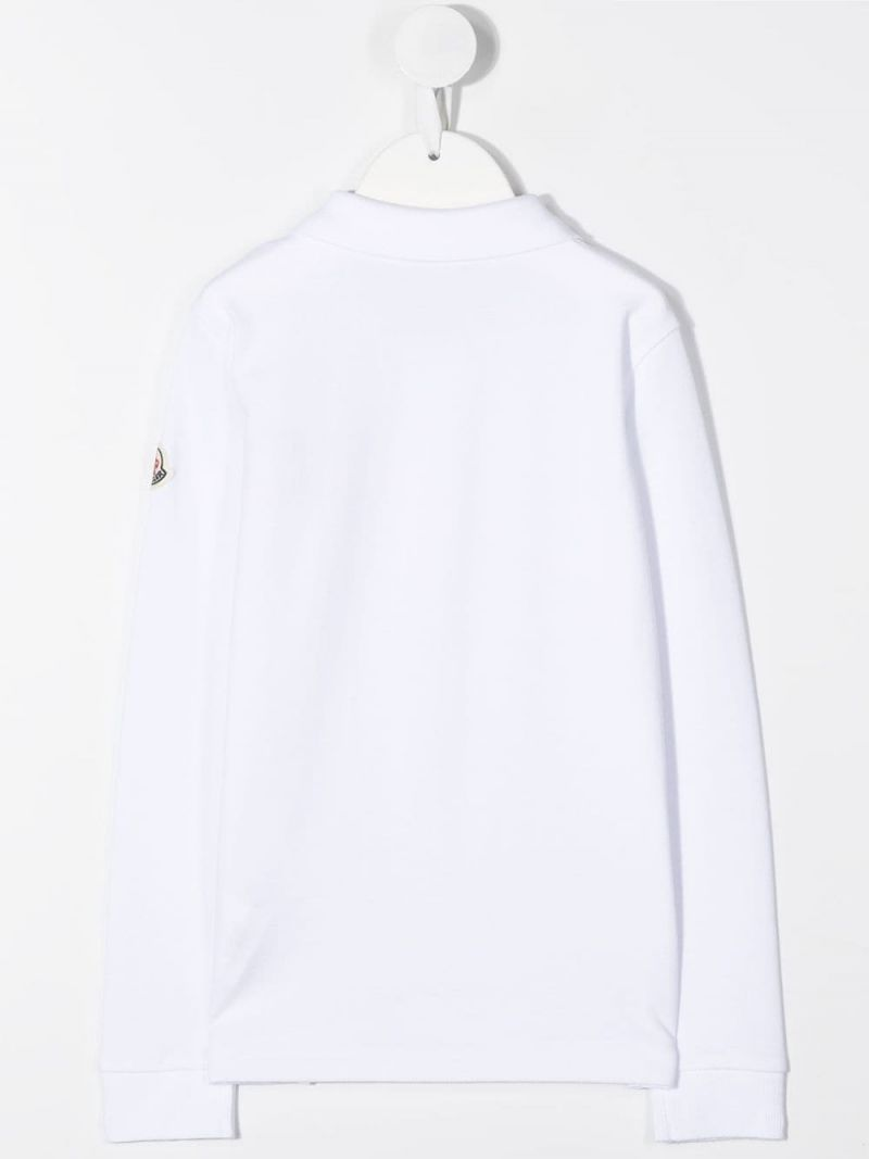 MONCLER KIDS: logo patch cotton long-sleeved polo shirt Color White_2