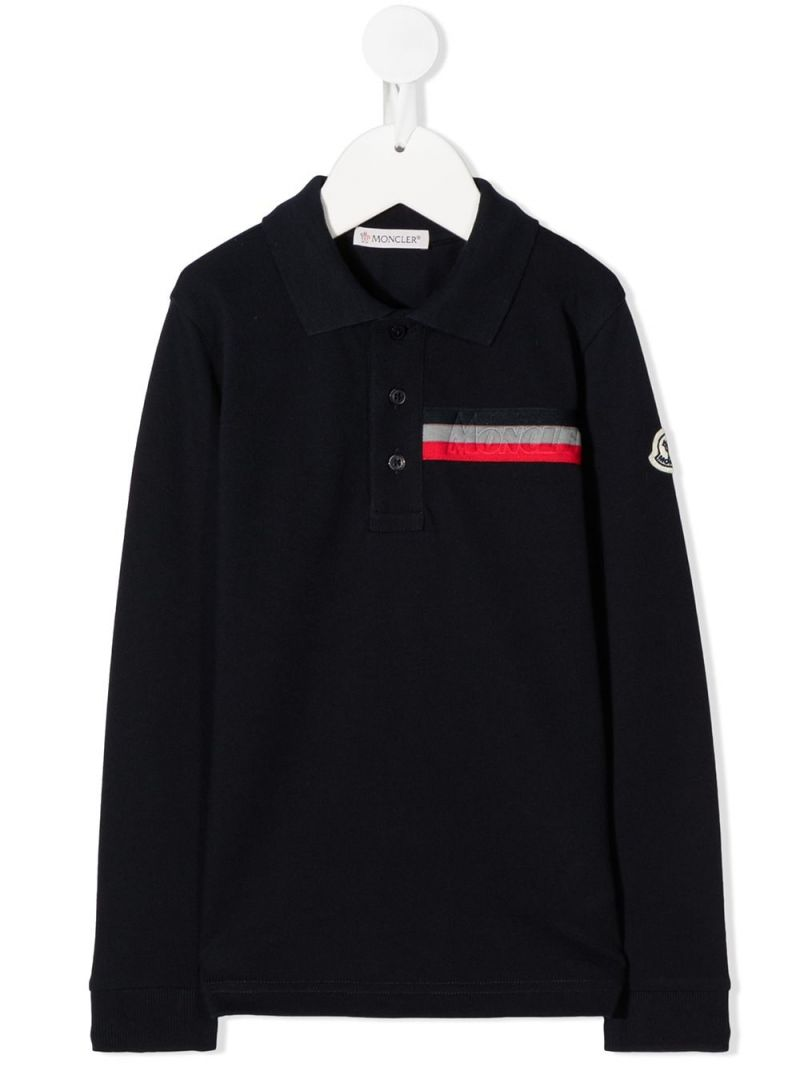 MONCLER KIDS: logo-detailed cotton long-sleeved polo shirt Color Black_1