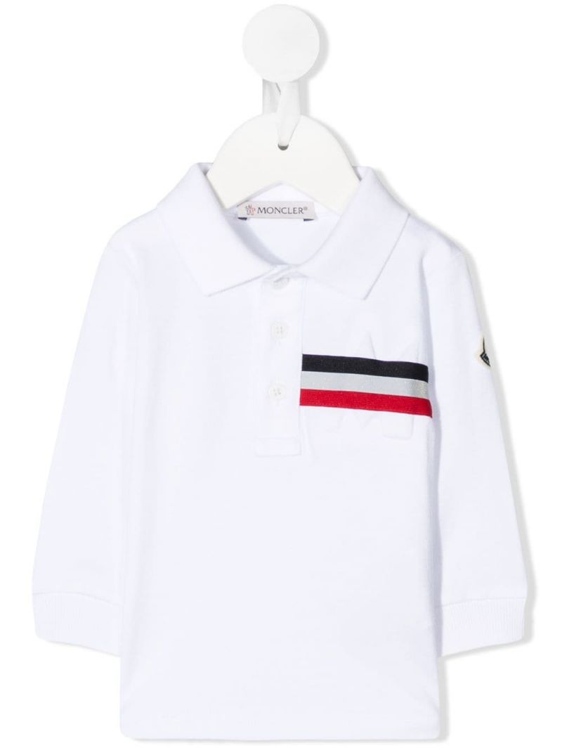 MONCLER KIDS: logo-detailed cotton long-sleeved polo shirt Color White_1