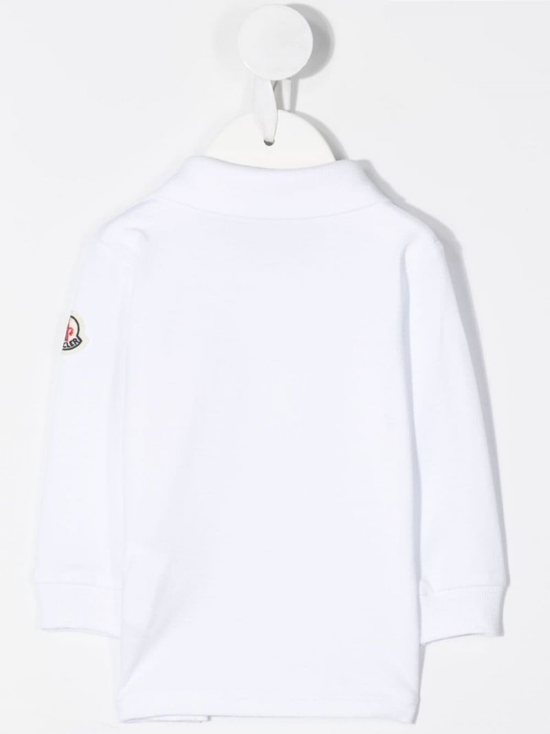 MONCLER KIDS: logo-detailed cotton long-sleeved polo shirt Color White_2