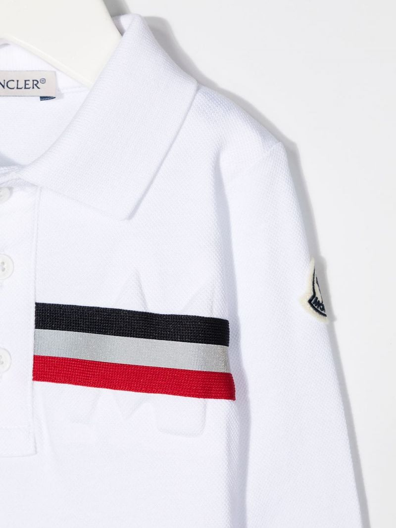 MONCLER KIDS: logo-detailed cotton long-sleeved polo shirt Color White_3