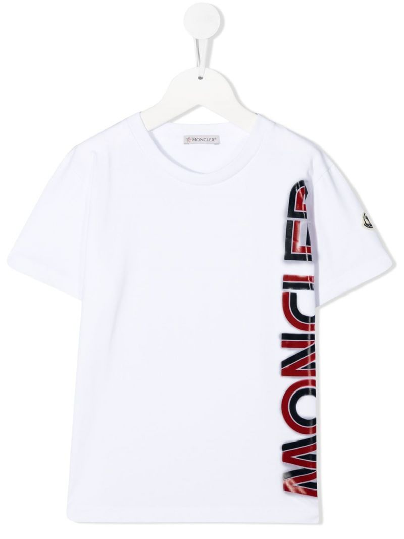 MONCLER KIDS: t-shirt in cotone stampa Moncler Colore Bianco_1