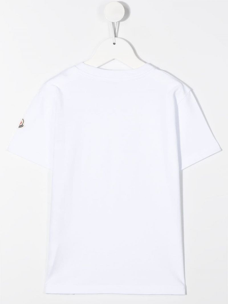 MONCLER KIDS: t-shirt in cotone stampa Moncler Colore Bianco_2