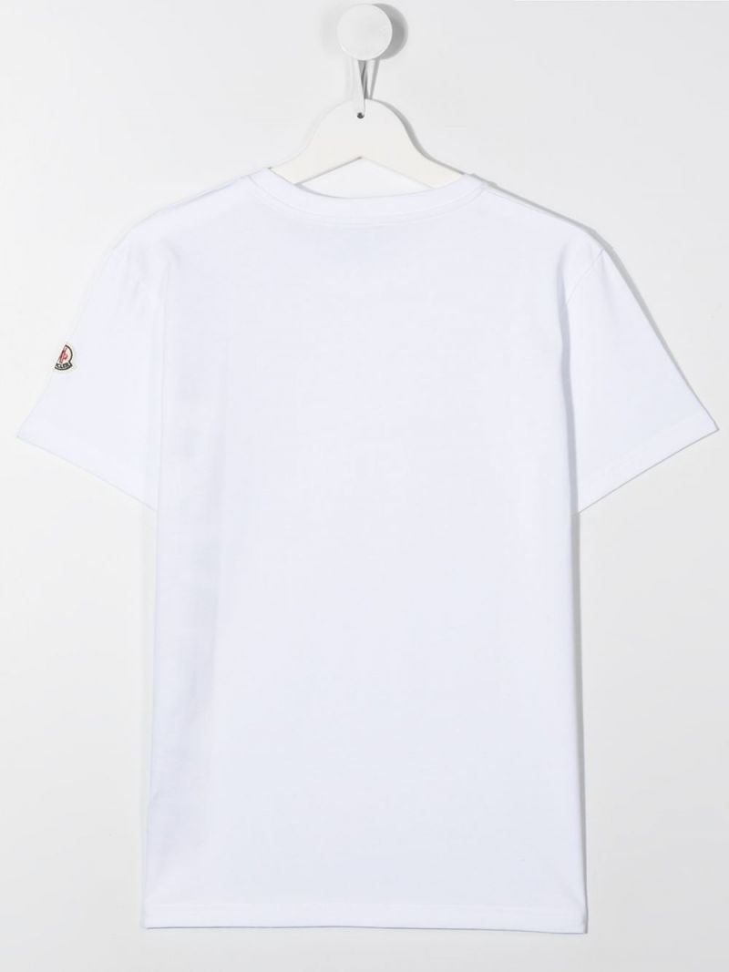 MONCLER KIDS: Moncler print cotton t-shirt Color White_2