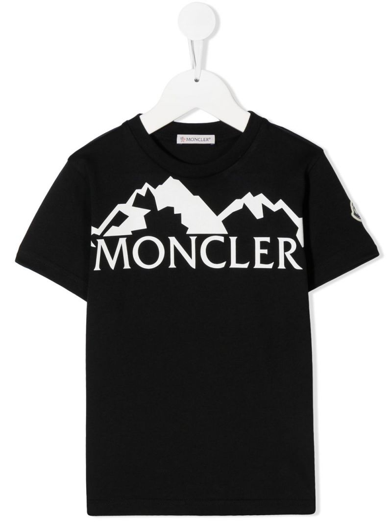 MONCLER KIDS: graphic logo print cotton t-shirt Color Black_1