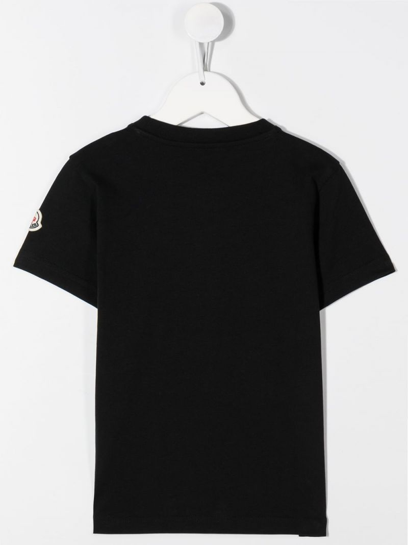 MONCLER KIDS: graphic logo print cotton t-shirt Color Black_2
