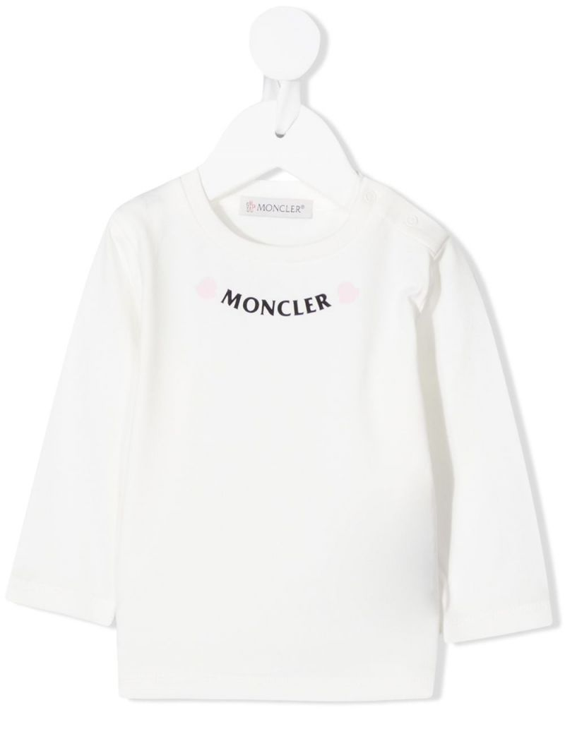 MONCLER KIDS: logo print cotton blend long-sleeved t-shirt Color White_1