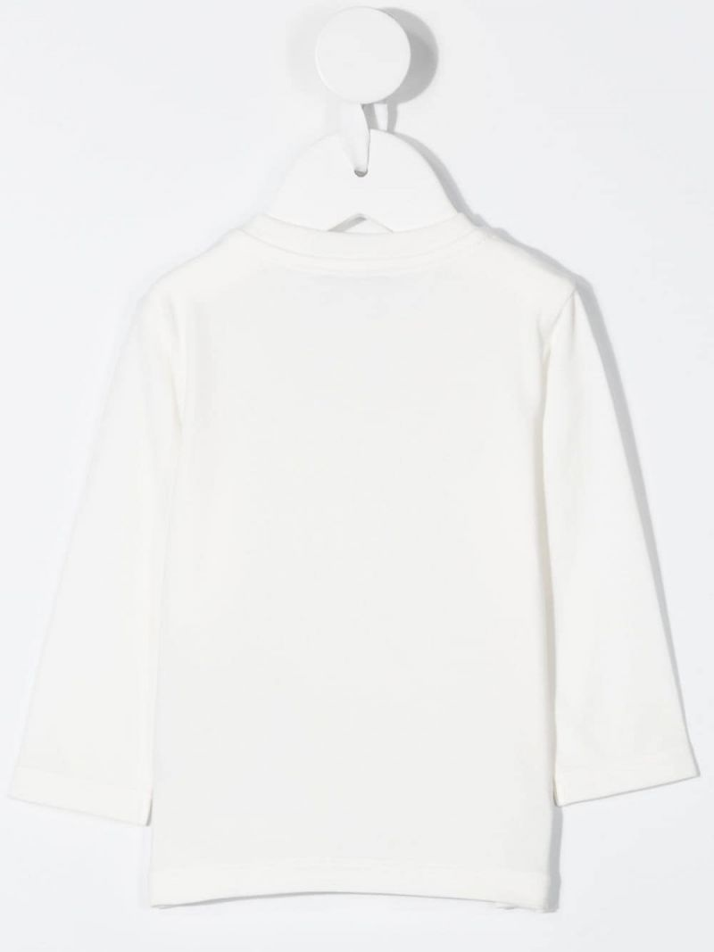 MONCLER KIDS: logo print cotton blend long-sleeved t-shirt Color White_2