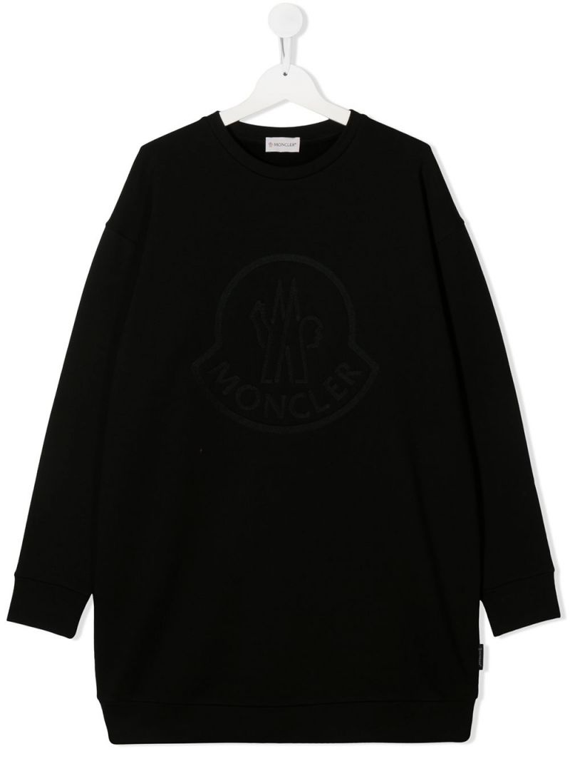 MONCLER KIDS: logo print cotton blend sweatshirt Color Black_1